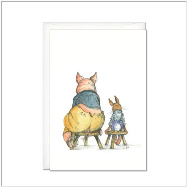 Kaart versturen - postcard - Varken en konijn op kruk