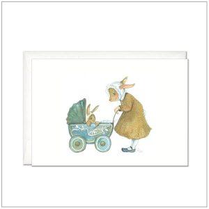 Kaart versturen - postcard - konijn met wandelwagen