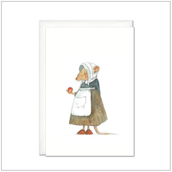 Kaart versturen - postcard - muis met appel