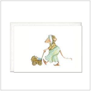 Kaart versturen - postcard - muis met wandelwagen