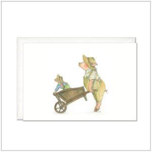 Kaart versturen - postcard - tuinierende varken en konijn