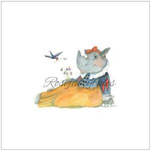 geilustreerde kaart uitnoding kinderfeest sneeuwwitje neushoorn
