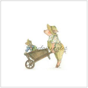 Kaart oud hollands papier tuinieren varken konijn
