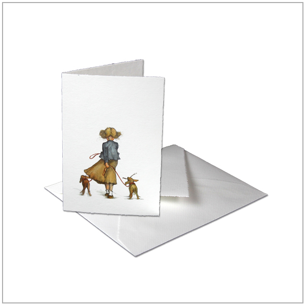 kaart oud hollands papier meisje met hondjes