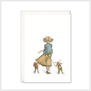 Kaart versturen - postcard - meisje met hondjes