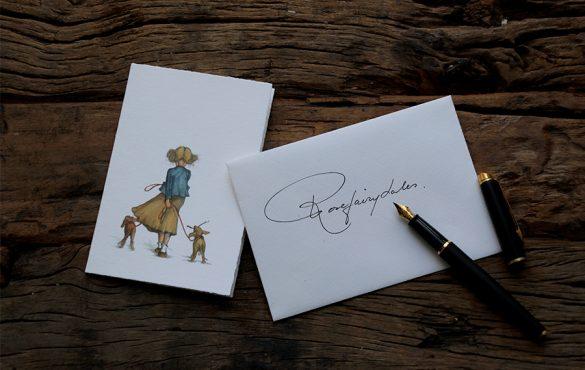 oud hollands geschept papier geïllustreerde kaartjes