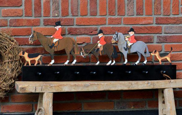Houten kapstok jacht paarden