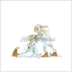Kerstkaart oud hollands papier konijn schaatsen