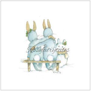 Kerstkaart oud hollands papier konijn