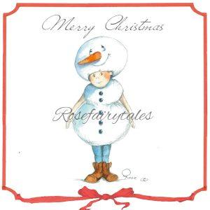 Kerstkaart oud hollands papier sneeuwpop