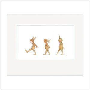 Prent Kinderkamer - huppelende konijntjes