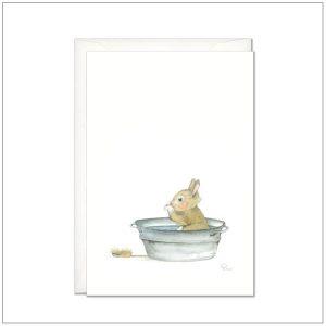 Kaart versturen - postcard - konijntje in bad