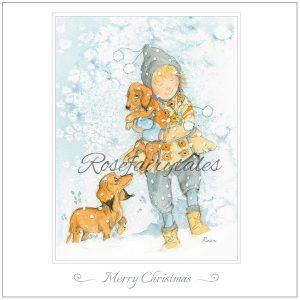 Kerstkaart 2019 - illustratie jongen met teckels