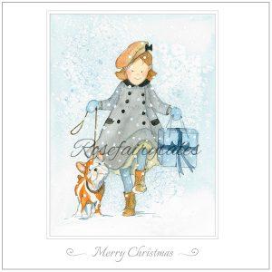 Kerstkaart 2019 - illustraties meisje met hond