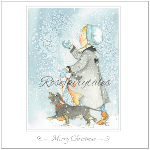 Kerstkaart 2019 - illustraties meisje met teckel