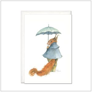 Kaart versturen - postcard - eekhoorn met paraplu