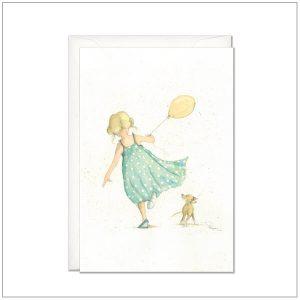 Kaart versturen - postcard - meisje met ballon