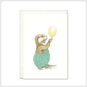 Kaart versturen - postcard - otter met ballon