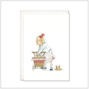 Kaart versturen - postcard - spelend meisje met wandelwagen