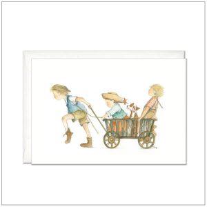 Kaart versturen - postcard - spelende kinderen met bolderkar