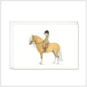 Kaart versturen - postcard - Paard met ruiter - palomino