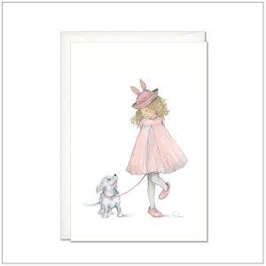 Kaart versturen - postcard - meisje in roze jurk