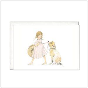 Kaart versturen - postcard - meisje met grote hond