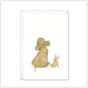 Kaart versturen - postcard - Olifant en konijn knuffels