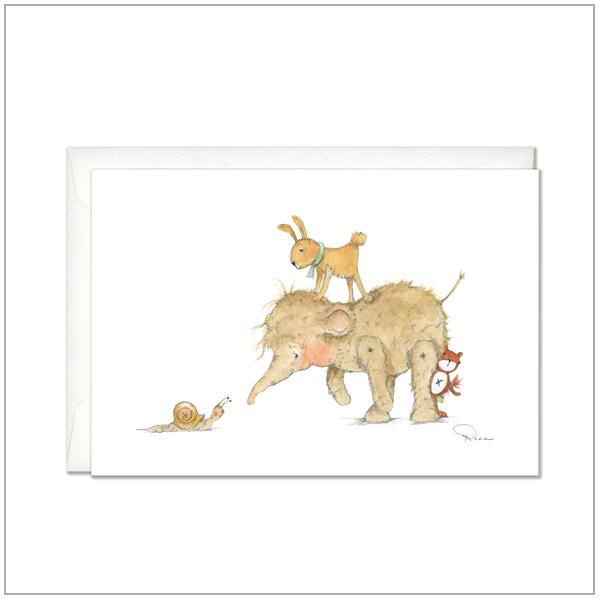 Kaart versturen - postcard - Olifantje met slak