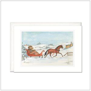 Kerstkaart - paard met slee bruin