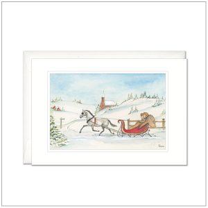 Kerstkaart - paard met slee wit