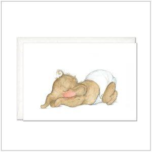 Geboortekaart - slapend baby olifantje