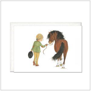 Kaart versturen - postcard - Bruin paard met ruiter
