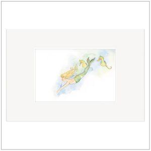 Prent kinderkamer - zeemeermin zeepaard illustratie
