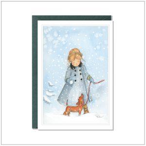 Kerstkaart versturen - meisje met teckel