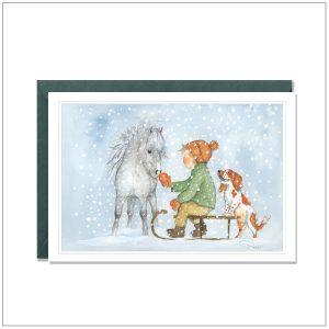 Kerstkaart versturen - witte pony slee